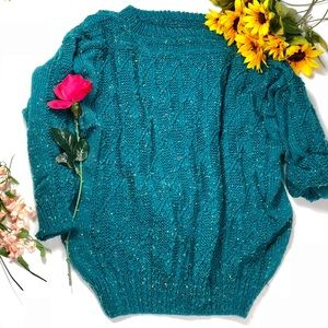 VTG🧚🏼‍♀️giant emerald candy speck fluffy sweater